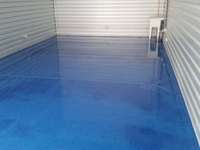 blue finished garage floor
