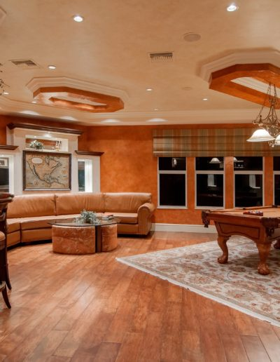 earth tone billiard room and bar